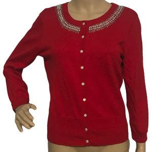 ($10) Ellen Tracy Cardigan Sweater Beaded M